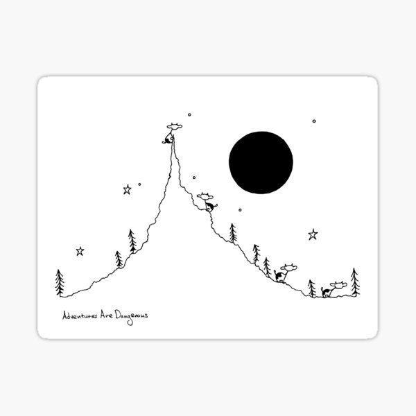 Cows in Mountain Forest with Full Moon Sticker