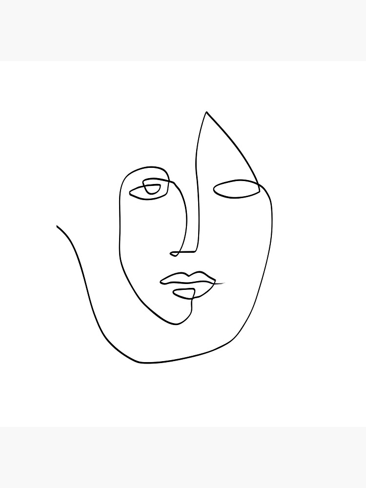 Abstract Face - One Line Art by TheRedFinch