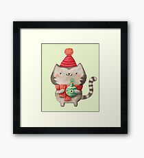 Cute Cat Christmas Framed Print