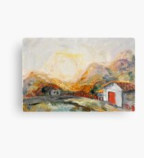 House with red door at Sunrise Metal Print
