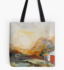 House with red door at Sunrise Tote Bag