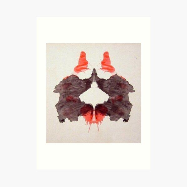 INKBLOT. Psychology, Second blot, Rorschach, inkblot test. Art Print