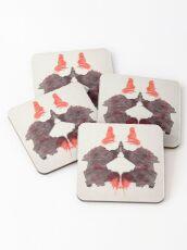 Psychology, Inkblot test, Second blot, Rorschach, inkblot test Coasters