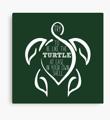 Try to be like the turtle, at ease in your own shell.  Canvas Print