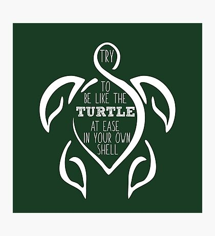 Try to be like the turtle, at ease in your own shell.  Photographic Print
