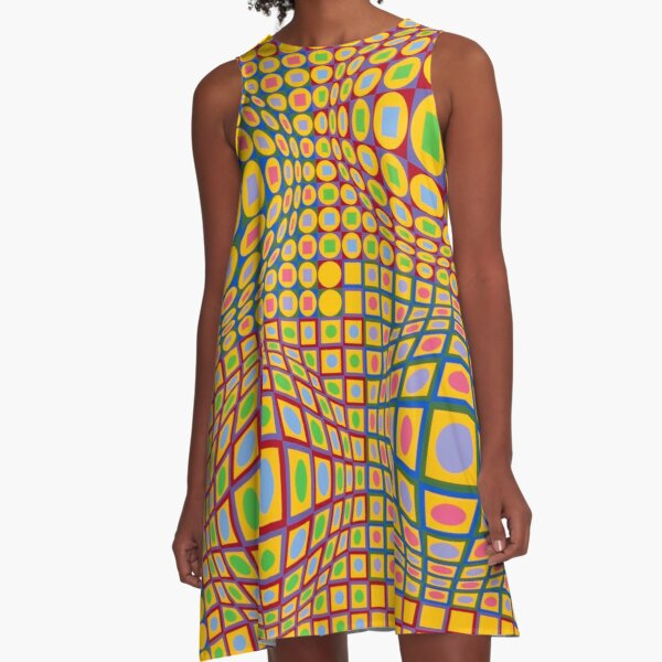 Op Art. Victor #Vasarely, was a Hungarian-French #artist, who is widely accepted as a #grandfather and leader of the #OpArt movement A-Line Dress