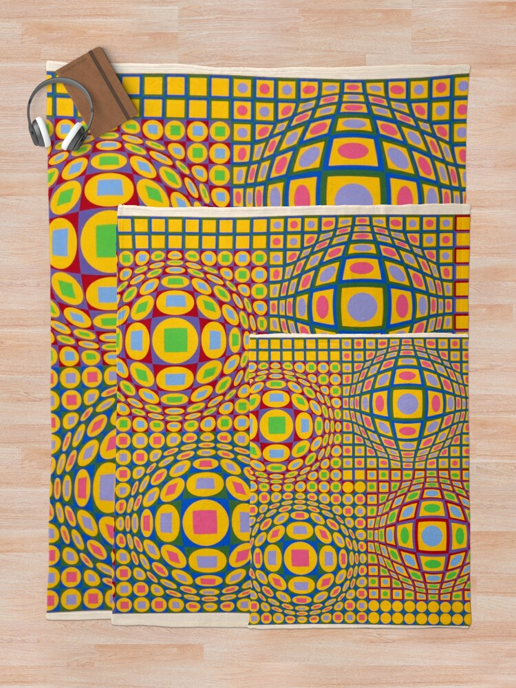 Alternate view of Op Art. Victor #Vasarely, was a Hungarian-French #artist, who is widely accepted as a #grandfather and leader of the #OpArt movement Throw Blanket