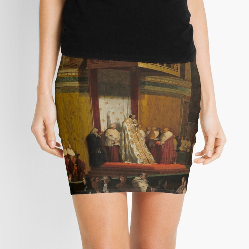 Pope Pius VII in the Sistine Chapel Oil Painting by Jean-Auguste-Dominique Ingres Mini Skirt