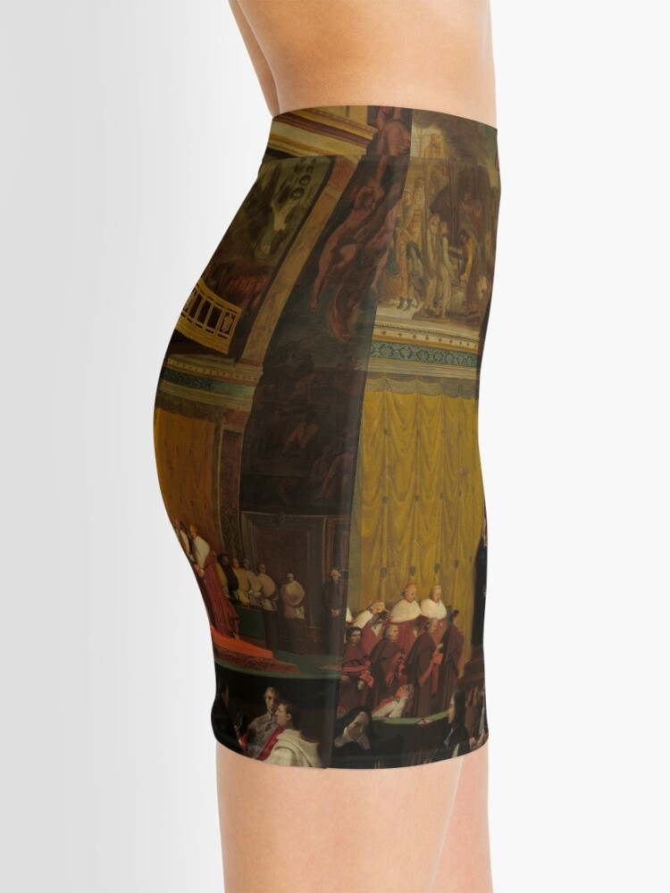 Alternate view of Pope Pius VII in the Sistine Chapel Oil Painting by Jean-Auguste-Dominique Ingres Mini Skirt