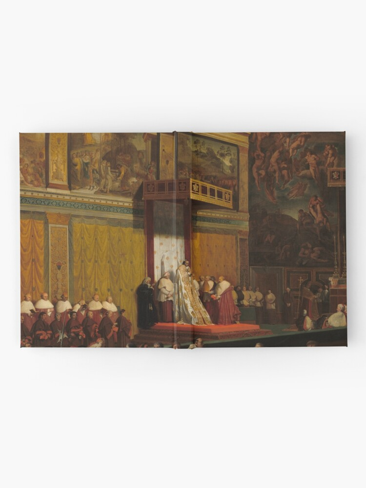 Alternate view of Pope Pius VII in the Sistine Chapel Oil Painting by Jean-Auguste-Dominique Ingres Hardcover Journal