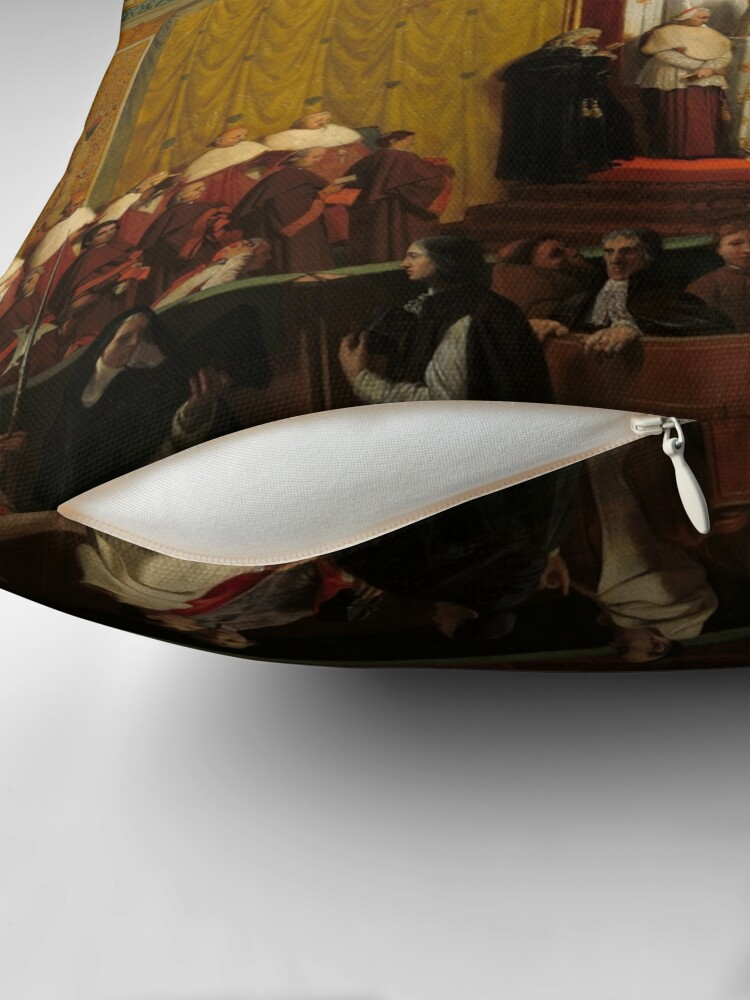 Alternate view of Pope Pius VII in the Sistine Chapel Oil Painting by Jean-Auguste-Dominique Ingres Throw Pillow