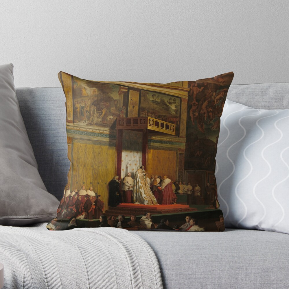 Pope Pius VII in the Sistine Chapel Oil Painting by Jean-Auguste-Dominique Ingres Throw Pillow