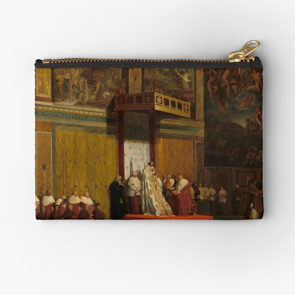Pope Pius VII in the Sistine Chapel Oil Painting by Jean-Auguste-Dominique Ingres Zipper Pouch
