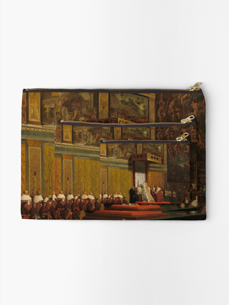 Alternate view of Pope Pius VII in the Sistine Chapel Oil Painting by Jean-Auguste-Dominique Ingres Zipper Pouch