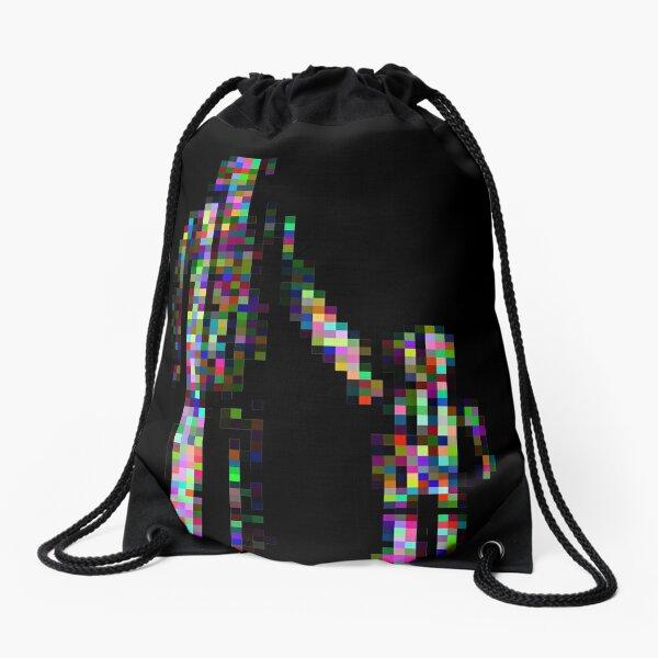 8 bit pixel pedestrians (color on black) Drawstring Bag