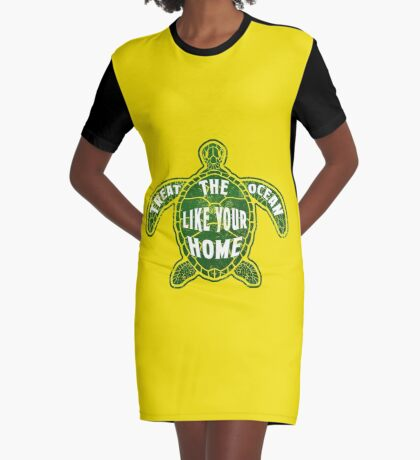 Treat the Ocean like your Home Graphic T-Shirt Dress