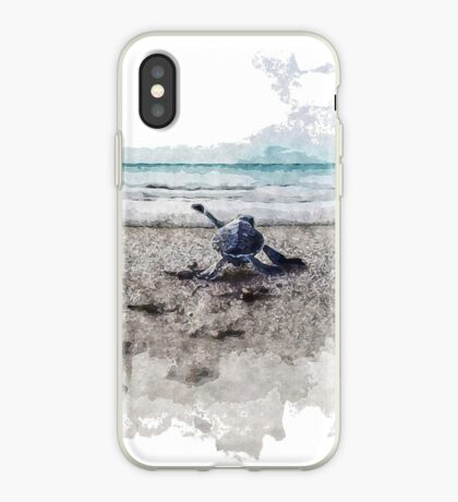 Baby Sea Turtle Waling - Watercolor  iPhone Case