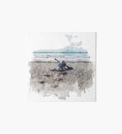 Baby Sea Turtle Waling - Watercolor  Art Board Print