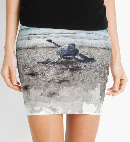 Baby Sea Turtle Waling - Watercolor  Mini Skirt