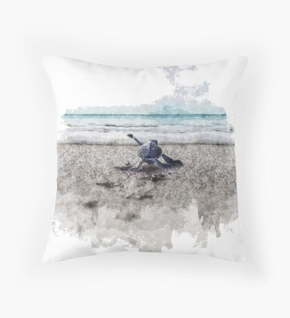 Baby Sea Turtle Waling - Watercolor  Throw Pillow
