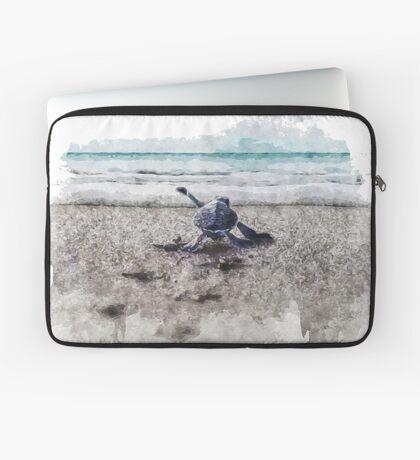 Baby Sea Turtle Waling - Watercolor  Laptop Sleeve