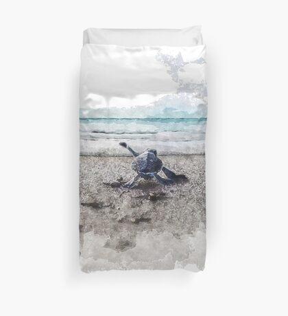 Baby Sea Turtle Waling - Watercolor  Duvet Cover