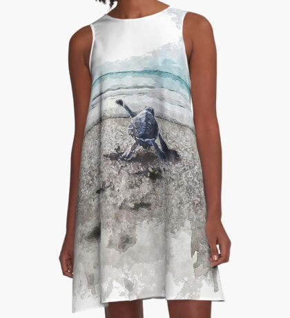 Baby Sea Turtle Waling - Watercolor  A-Line Dress