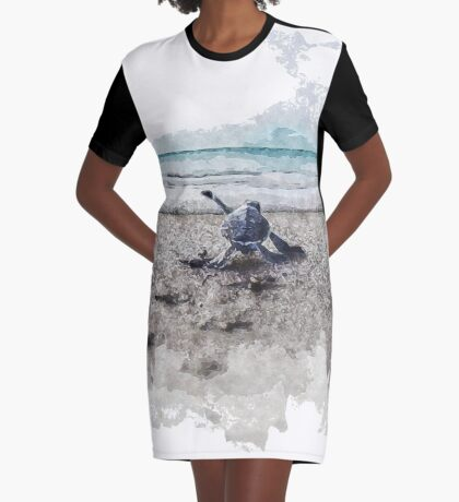 Baby Sea Turtle Waling - Watercolor  Graphic T-Shirt Dress