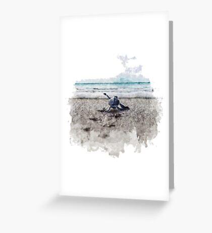 Baby Sea Turtle Waling - Watercolor  Greeting Card