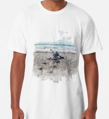 Baby Sea Turtle Waling - Watercolor  Long T-Shirt