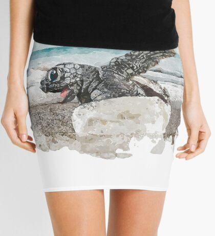 Baby Sea Turtle Hatching - Watercolor Mini Skirt