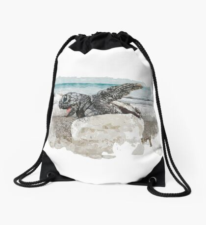 Baby Sea Turtle Hatching - Watercolor Drawstring Bag