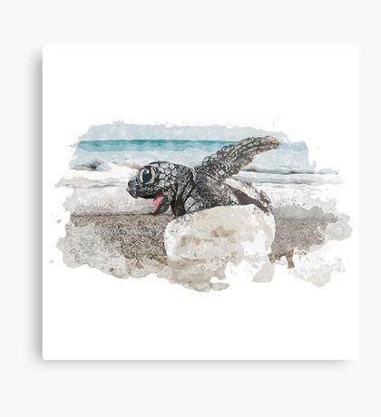 Baby Sea Turtle Hatching - Watercolor Metal Print