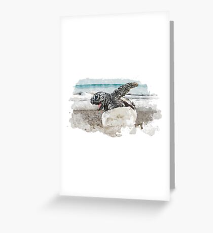 Baby Sea Turtle Hatching - Watercolor Greeting Card