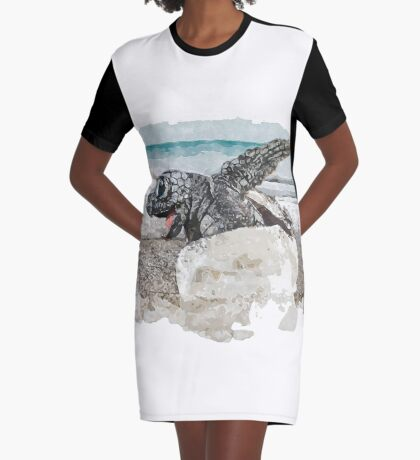 Baby Sea Turtle Hatching - Watercolor Graphic T-Shirt Dress