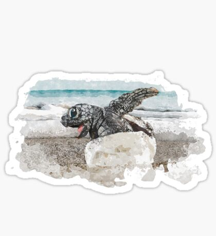 Baby Sea Turtle Hatching - Watercolor Sticker