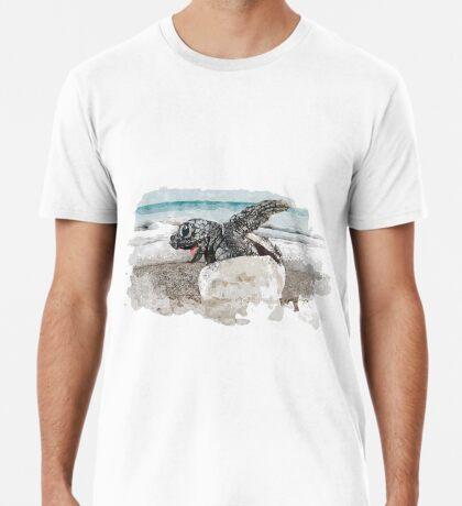 Baby Sea Turtle Hatching - Watercolor Premium T-Shirt