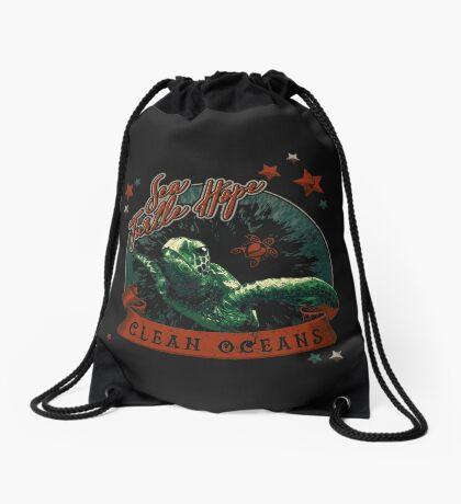 Sea Turtle Hope - Vintage Pop Drawstring Bag