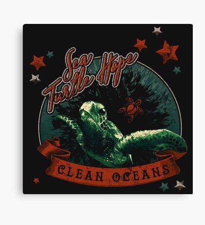 Sea Turtle Hope - Vintage Pop Canvas Print