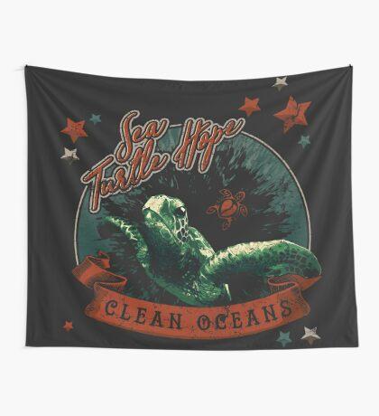 Sea Turtle Hope - Vintage Pop Wall Tapestry