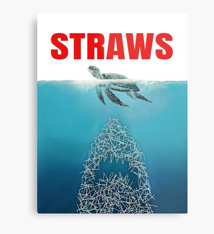 Straws - Vintage Metal Print