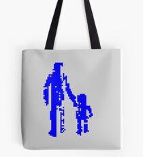 1 bit pixel pedestrians (blue) Tote Bag