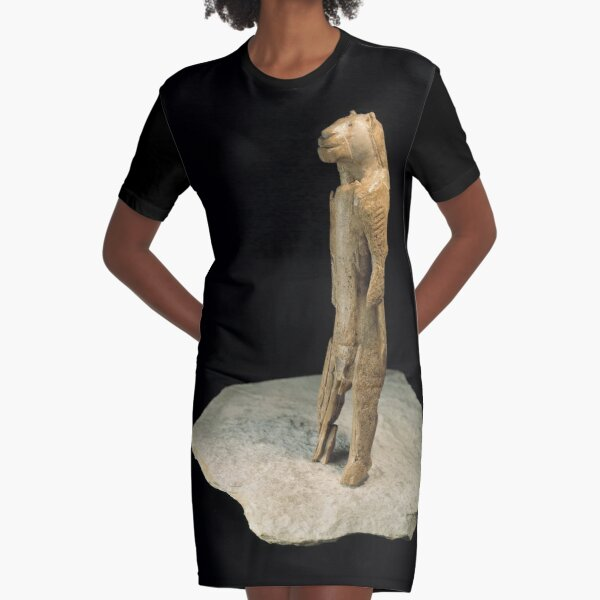The lion-man sculpture from Germany (dated to 37,000 years ago)  Graphic T-Shirt Dress