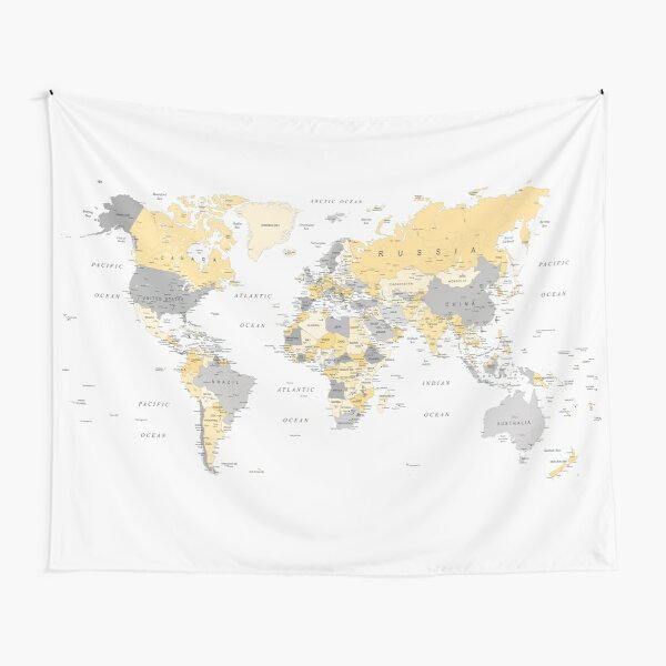 Map of the World Yellow and Grey Tapestry