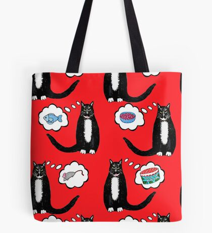 cat nip dreams // kitty crack, tuxedo cats on red Tote Bag