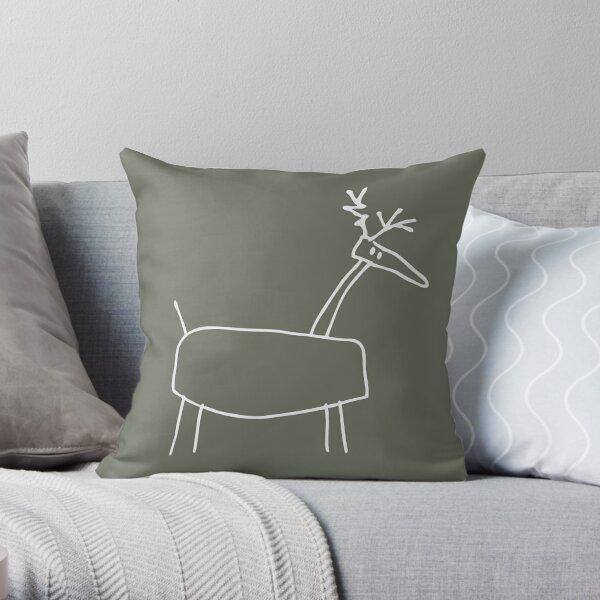 Poro the Reindeer (outline white) Throw Pillow