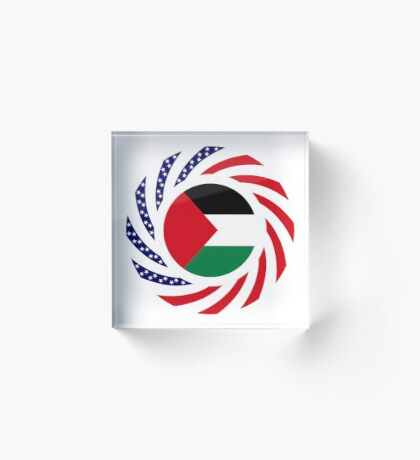 Palestinian American Multinational Patriot Flag Series Acrylic Block