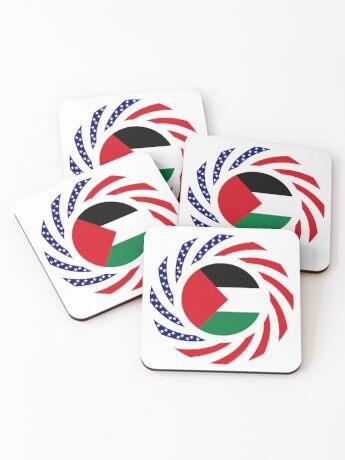 Palestinian American Multinational Patriot Flag Series Coasters