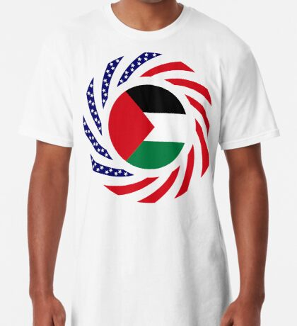 Palestinian American Multinational Patriot Flag Series Long T-Shirt