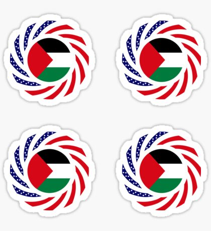 Palestinian American Multinational Patriot Flag Series Glossy Sticker